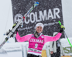 20.01.2013, Olympia delle Tofane, Cortina d Ampezzo, ITA, FIS Weltcup Ski Alpin, Super G, Damen, Podium, im Bild Viktoria Rebensburg (GER, Platz 1) // 1st place Viktoria Rebensburg of Germany celebrate on podium during ladies Super G of the FIS Ski Alpine World Cup at the Olympia delle Tofane course, Cortina d Ampezzo, Italy on 2013/01/20. EXPA Pictures © 2013, PhotoCredit: EXPA/ Johann Groder
