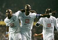Photo: Tom Dulat.<br /> Tottenham Hotspur v Getafe. UEFA Cup. 25/10/2007.<br /> Jermain Defoe(L) of Tottenham Hotspur opens the scoring.1-0<br /> Didier Zokora(R) celebrates togetther with him