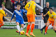 Hartlepool United midfielder Nicky Featherstone distributes the ball during the Sky Bet League 2 match between Hartlepool United and Wycombe Wanderers at Victoria Park, Hartlepool, England on 16 January 2016. Photo by George Ledger.
