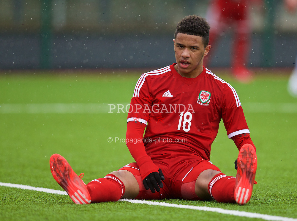 YSTRAD MYNACH, WALES - Thursday, February 19, 2015: Wales' Tyler Roberts looks dejected after missing a chance against Czech Republic during a friendly match at the Centre of Sporting Excellence. (Pic by David Rawcliffe/Propaganda)