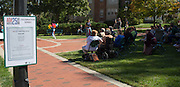 People gather at the beginning of the ADA25 kickoff event at Ohio University's Howard Park on October 6, 2015. The kickoff was the start of a series of events on campus and throughout the Athens community in celebration of the 25th anniversary of the enactment of Americans with Disabilities Act. Photo by Emily Matthews