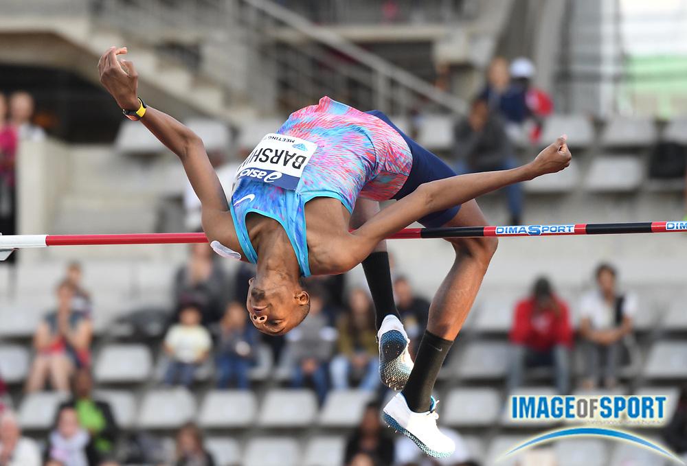 Jul 1, 2017; Paris, France;  Mutaz Essa Barshim (QAT) wins the high jump at 7-8 1/2 (2.35m) during the Meeting de Paris in an IAAF Diamond League meet at Stade Charlety.