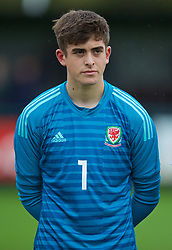 NEWPORT, WALES - Monday, October 14, 2019: Wales' goalkeeper Lewis Webb lines-up before an Under-19's International Friendly match between Wales and Austria at Dragon Park. (Pic by David Rawcliffe/Propaganda)