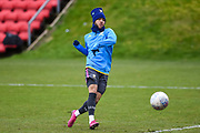 Tyler Roberts of Leeds United Under 23's warming up before the U23 Professional Development League match between Barnsley and Leeds United at Oakwell, Barnsley, England on 9 March 2020.