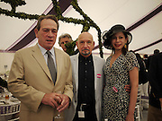 TOMMY LEE JONES; SIR BEN KINGSLEY;DANIELA LAVENDER, Cartier International Polo. Guards Polo Club. Windsor Great Park. 25 July 2010. -DO NOT ARCHIVE-© Copyright Photograph by Dafydd Jones. 248 Clapham Rd. London SW9 0PZ. Tel 0207 820 0771. www.dafjones.com.
