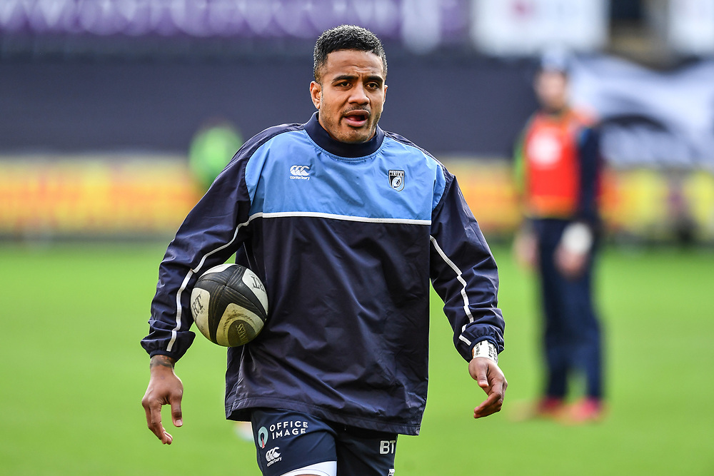 Cardiff Blues' Rey Lee-Lo during the pre match warm up<br /> <br /> Photographer Craig Thomas/Replay Images<br /> <br /> Guinness PRO14 Round 13 - Ospreys v Cardiff Blues - Saturday 6th January 2018 - Liberty Stadium - Swansea<br /> <br /> World Copyright © Replay Images . All rights reserved. info@replayimages.co.uk - http://replayimages.co.uk