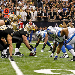 January 7, 2012; New Orleans, LA, USA; New Orleans Saints center Brian De La Puente (60) lines up against the Detroit Lions during the 2011 NFC wild card playoff game at the Mercedes-Benz Superdome. Mandatory Credit: Derick E. Hingle-US PRESSWIRE