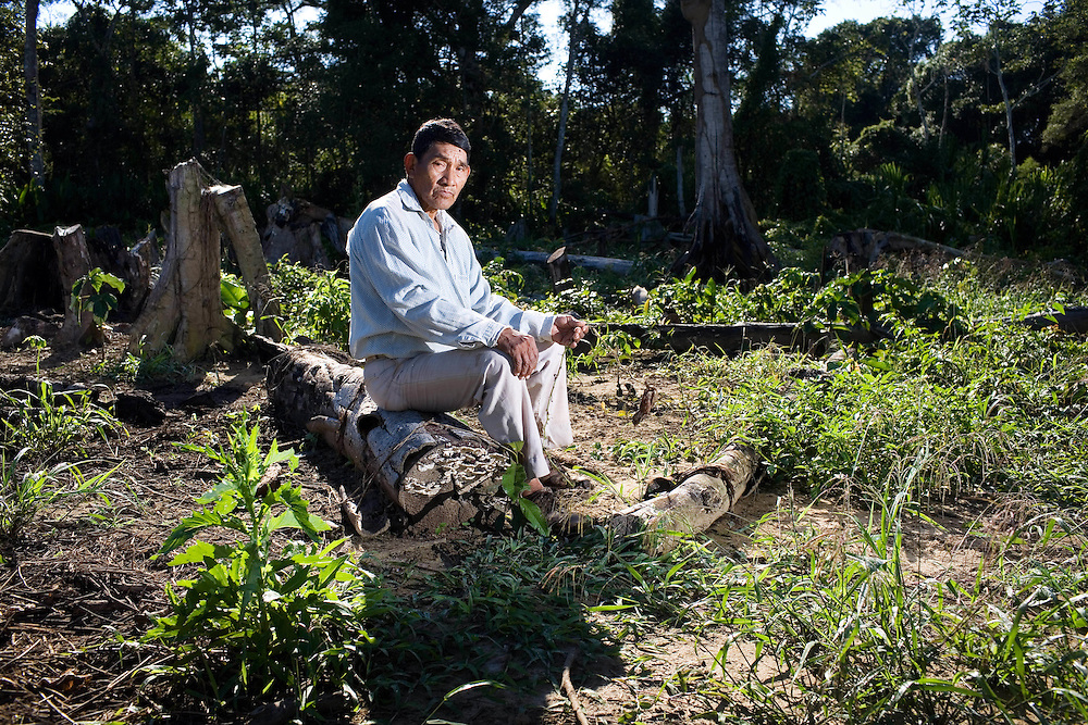 Bolivia, Cocacobana on the the river Ibare near Trinidad. . Francisco Suco Bono, 68 stands amongst the ruins of his watermelon plants that were destroyed during the floods of 2008.Bolivia. Loma Suarez.. working on the camellones.