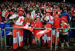 Switzerland fans in the stands before the FIFA World Cup Qualifying second leg match at St Jakob Park, Basel.