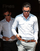 Jack Tweed (R) and brother Lewis (L) leaving Redbridge Magistrates court  after pleading guilty to assault in Essex on August 03rd 2011..Jade Goody's widower, 23, appears charged with threatening and abusive behaviour, in relation to an alleged incident outside Deuces Bar and Lounge, in Chigwell, Essex, on January 3. Appearing alongside are Tweed's younger brother Lewis, 20, and friend Mark Wright, 24, who appeared on reality TV show The Only Way Is Essex..