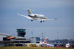 © Licensed to London News Pictures. 06/01/2020. Leeds UK. An aircraft struggles to land in strong winds at Leeds Bradford airport as the Met Office issues a weather warning for the north of the UK. Photo credit: Andrew McCaren/LNP