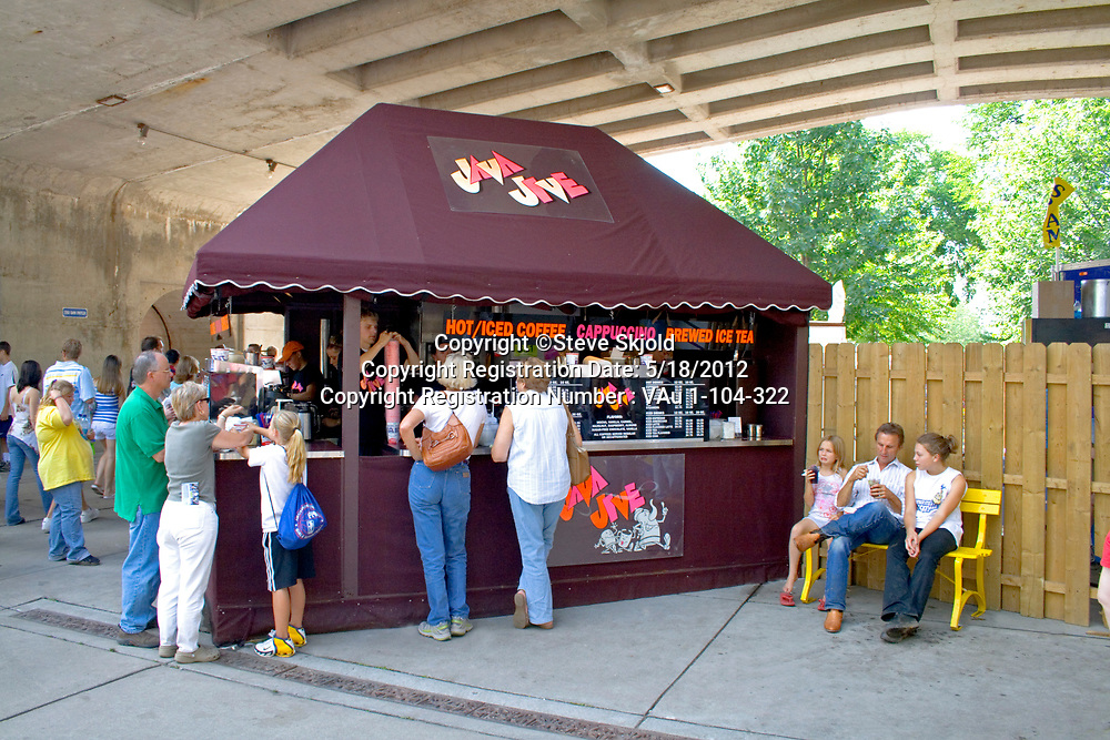 Patrons purchasing designer coffee at Java Jive walk up concession stand. Minnesota State Fair St Paul Minnesota MN USA