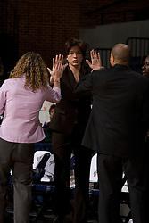 Miami Hurricanes head coach Katie Meier before the start of the UVA game.  The University of Virginia Cavaliers defeated the Miami Hurricanes Women's Basketball Team 73-60 at the John Paul Jones Arena in Charlottesville, VA on February 4, 2007.