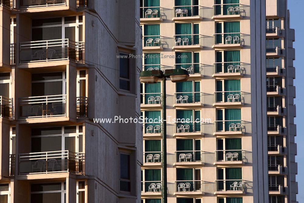 Israel, Tel Aviv, Hotel porches at the seafront promenade