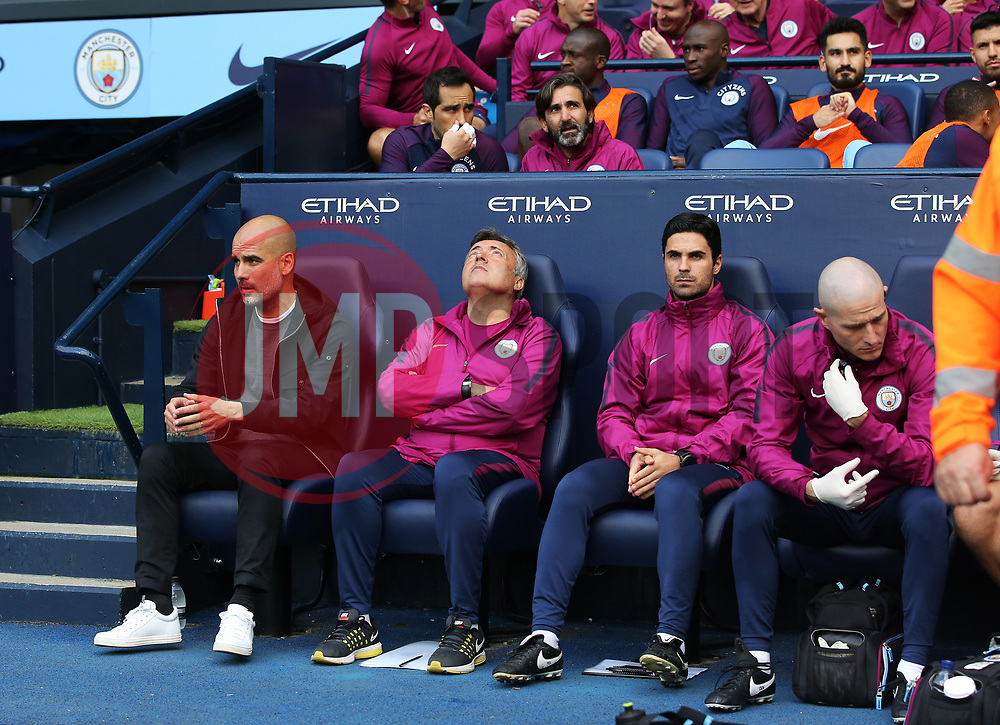 Manchester City manager Pep Guardiola and coaching staff - Mandatory by-line: Matt McNulty/JMP - 14/10/2017 - FOOTBALL - Etihad Stadium - Manchester, England - Manchester City v Stoke City - Premier League