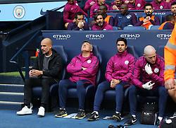 Manchester City manager Pep Guardiola and coaching staff - Mandatory by-line: Matt McNulty/JMP - 14/10/2017 - FOOTBALL - Etihad Stadium - Manchester, England - Manchester City v Stoke City - Premier League