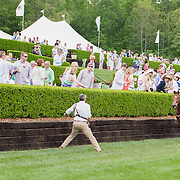 A trainer attempts to stop a run away horse at the 2013 Queen's Cup Steeplechase.
