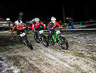 "Raul Hernandez from Spain, Tomi Misser from Spain and Remo Heutschi from Switzerland during stage 4 of the first Snow Epic, the ""Eliminator"" course on the Klostermatte ski slopes near Engelberg, in the heart of the Swiss Alps, Switzerland on the 16th January 2015<br /> <br /> Photo by:  Marc Gasch / Snow Epic / SPORTZPICS"