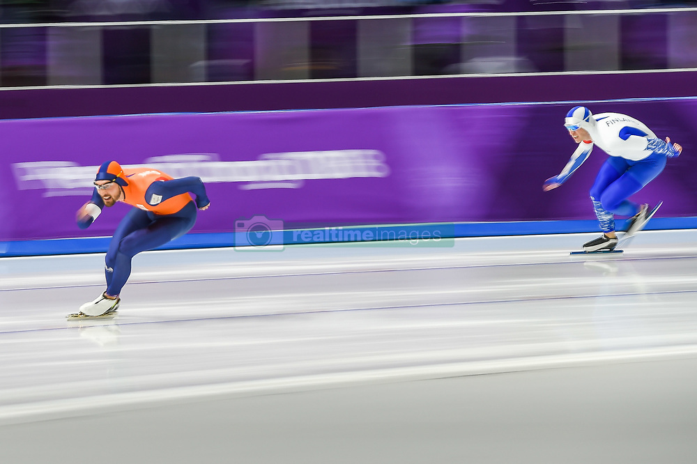 February 23, 2018 - Pyeongchang, Gangwon, South Korea - Kjeld Nuis of  Netherlands winning the gold medal at 1000 meter speedskating at winter olympics, Gangneung South Korea on February 23, 2018. (Credit Image: © Ulrik Pedersen/NurPhoto via ZUMA Press)