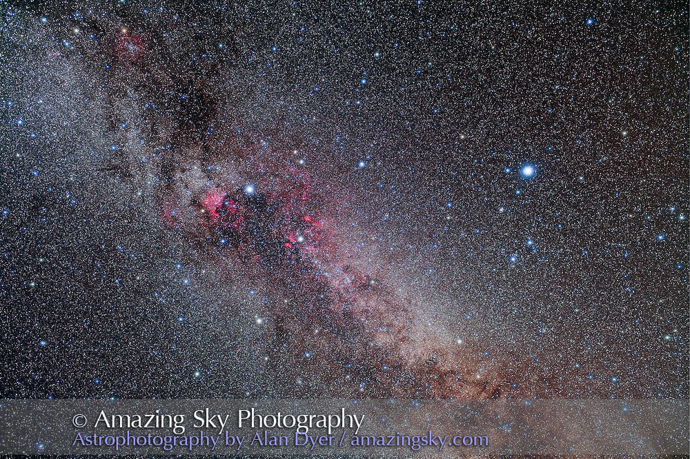 Cygnus and Lyra area of summer Milky Way, including the Kepler field for extra-solar planet search. A stack of 2 x 8 minutes unfiltered + 2 x 8 minutes with Kenko Softon A filter, all with 35mm lens at f/4 and Canon 5DMkII at ISO 400. Taken from home Sept. 14, 2009.