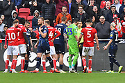 Kiko Casilla (33) of Leeds United talks to the referee during the EFL Sky Bet Championship match between Bristol City and Leeds United at Ashton Gate, Bristol, England on 9 March 2019.