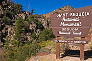 Giant Sequoia National Monument sign on the Kern River, Sierra Nevada Mountains, California