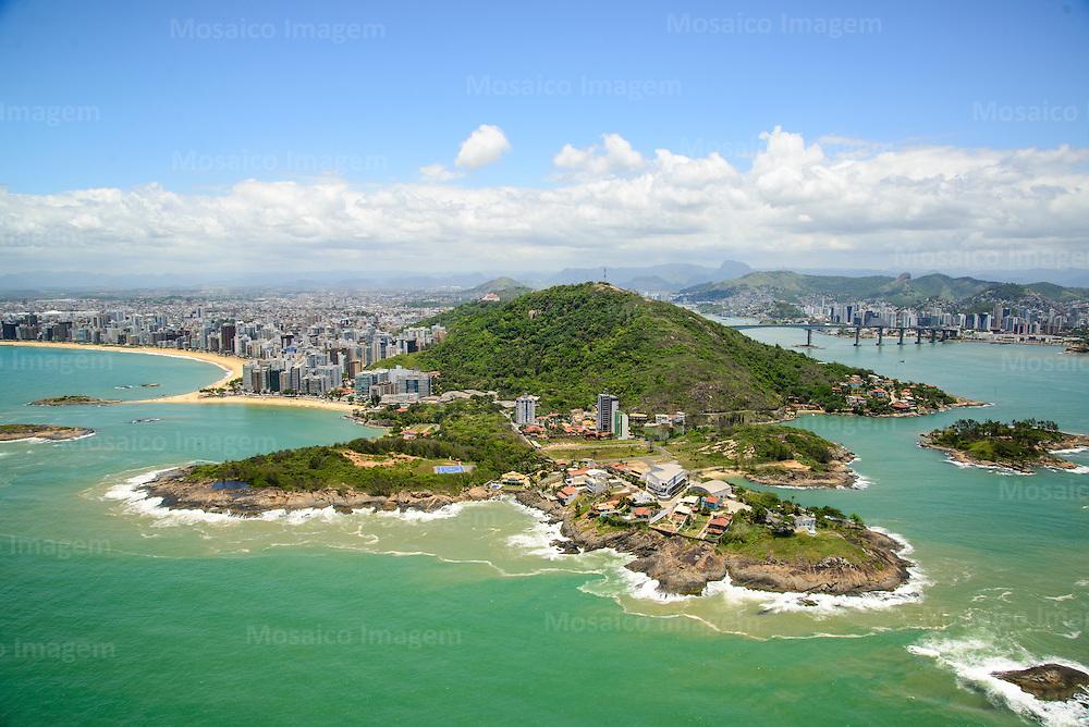 Brasil - Espirito Santo - Vila Velha - Vista aerea da Praia da Costa, Curva da Sereia, Casa do Governador e Farol de Santa Luzia - Foto: Bruno Coelho/ Mosaico Imagem