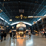 NASA's space shuttle Enterprise on display at the Smithsonian National Air and Space Museum's Udvar-Hazy Center, a large hangar facility at Chantilly, Virginia, next to Dulles Airport and just outside Washington DC.