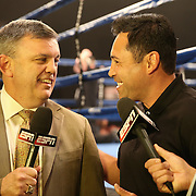 ESPN analyst Teddy Atlas and this years Hall of Fame inductee Oscar De La Hoya are seen during the Iron Mike Productions, ESPN Friday Night Fights boxing match at Turning Stone Resort Casino on Friday, June 6, 2014 in Verona, New York.  (AP Photo/Alex Menendez)