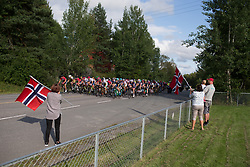 The peloton rides past local supporters on Stage 1 of the Ladies Tour of Norway - a 101.5 km road race, between Halden and Mysen on August 18, 2017, in Ostfold, Norway. (Photo by Balint Hamvas/Velofocus.com)