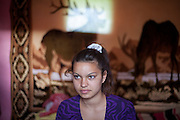 Simuna Nedelcu in the house of her family located in the Roma area of Frumusani.