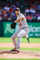 March 29, 2018 - Arlington, TX, U.S. - ARLINGTON, TX - MARCH 29: Houston Astros starting pitcher Justin Verlander (35) pitches during the game between the Texas Rangers and the Houston Astros on March 29, 2018 at Globe Life Park in Arlington, Texas. Houston defeats Texas 4-1. (Photo by Matthew Pearce/Icon Sportswire) (Credit Image: © Matthew Pearce/Icon SMI via ZUMA Press)