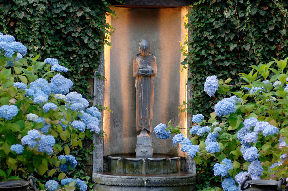A PENSIVE SHRINE SURROUNDED BY LUSH HYDRANGEA