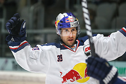 20.02.2015, Curt-Fenzel-Stadion, Augsburg, GER, DEL, Augsburger Panther vs EHC Red Bull M&uuml;nchen, 49. Runde, im Bild Francois Methot (EHC Muenchen), Torjubel nach seinem Treffer zum 1:1 Ausgleich, // during Germans DEL Icehockey League 49th round match between Augsburger Panther and  EHC Red Bull M&uuml;nchen at the Curt-Fenzel-Stadion in Augsburg, Germany on 2015/02/20. EXPA Pictures &copy; 2015, PhotoCredit: EXPA/ Eibner-Pressefoto/ Krieger<br /> <br /> *****ATTENTION - OUT of GER*****