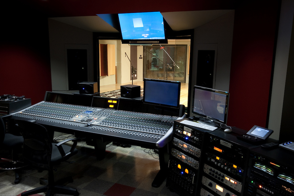 A state-of-the-art equipment fills the control room at the Art Institute of Austin.