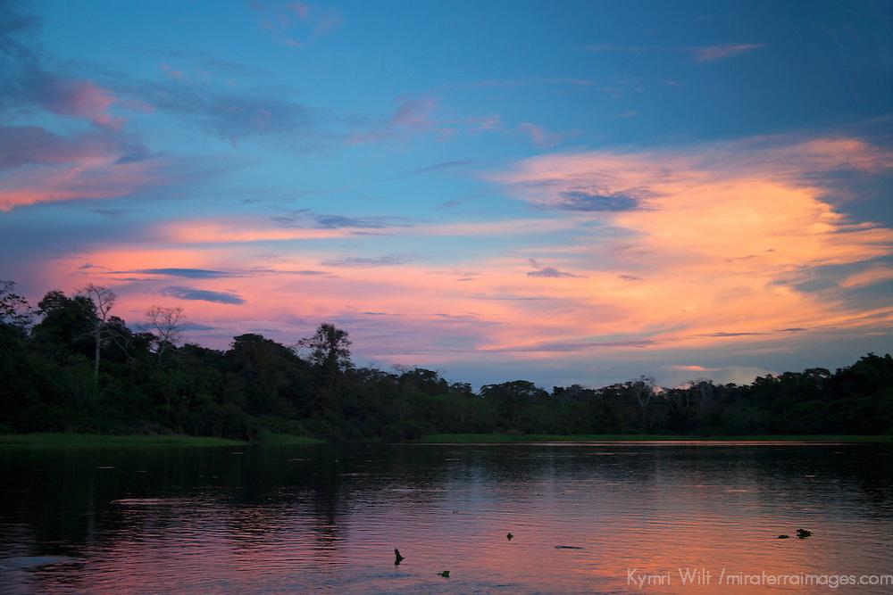 South America, Peru, Amazon. Sunset of the Amazon.