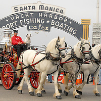 Horse-drawn steam-powered fire engine drawn by three white horses lead 16 Australian firefighters and 20 American police, firefighters and EMTs on Santa Monica Pier commencing  The Tour of Duty Run on Thursday, August 12, 2010.  The Tour of Duty Run is a journey that will run from Los Angeles to New York, finishing at the World Trade Center site to commemorate 9/11.