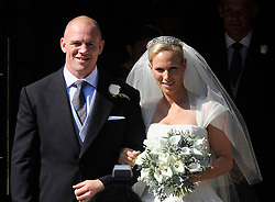 EDINBURGH, SCOTLAND- JULY 30: ROTA- The Royal Wedding of Zara Phillips, Granddaughter of Queen Elizabeth and Mike Tindall, England Rugby Player takes place at Cannongate Kirk in Edinburgh, Scotland. Members of the Royal Family attend the service at the church followed by a reception at Holyrood Palace.<br /> Pic shows. Zara Phillips and Mike Tindall
