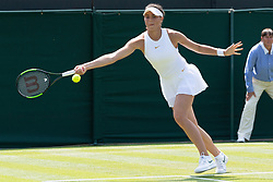 © Licensed to London News Pictures. 03/07/2018. London, UK.  Natalia Vikhlyantseva of Russia plays Johanna Konta of Great Britain in the women's 1st round singles draw of the Wimbledon Tennis Championships 2018. Photo credit: Ray Tang/LNP
