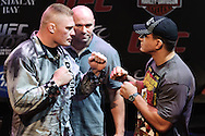 LAS VEGAS, NEVADA, JULY 9, 2009: Brock Lensar (left) and Frank Mir face off during the pre-fight press conference for UFC 100 inside the House of Blues in Las Vegas, Nevada