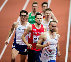 Jan Kubista of Czech Republic and Amel Tuka of BiH compete in the Men's 800 metres heats on day one of the 2017 European Athletics Indoor Championships at the Kombank Arena on March 3, 2017 in Belgrade, Serbia. Photo by Vid Ponikvar / Sportida