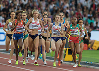 Athletics - 2017 IAAF London World Athletics Championships - Day One<br /> <br /> Event: Womens 1500m Qualifying Heat 2<br /> <br /> Laura Muir (GBR) leads the field out <br /> <br /> <br /> COLORSPORT/DANIEL BEARHAM