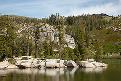 """Paradise Lake 3"" - Photograph of pine trees along the shore of Paradise Lake in the Tahoe National Forest."
