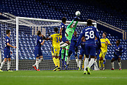 Jamie Cumming of Chelsea (52) punching the ball during the EFL Trophy match between U21 Chelsea and AFC Wimbledon at Stamford Bridge, London, England on 4 December 2018.
