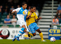 Photo: Richard Lane.<br />Bristol Rovers v Wycombe Wanderers. Coca Cola League 2. 08/08/2006. <br />Wycombe's Chris Palmer (rt) is challenged by Lewis Haldane.