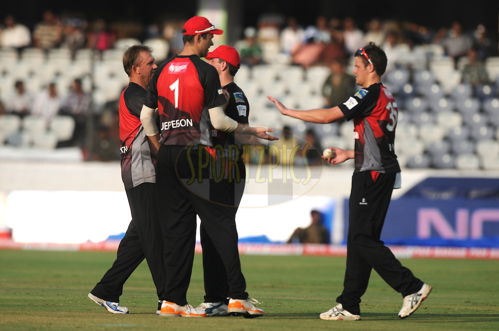 Wayne White of Leicestershire Foxes celebrates a wicket during the CLT20 - Q5 match between Leicester and Ruhunu held at the Rajiv Gandhi International Stadium, Hyderabad on the 21st September 2011..Photo by Pal Pillai/BCCI/SPORTZPICS