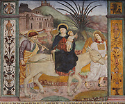 Flight into Egypt, detail from a fresco of the crucifixion and scenes from the life of Christ, 1513-15, by an unknown Renaissance Lombard artist of the Scotto school, on the partition wall of the Church of Santa Maria delle Grazie, a Franciscan church built 1480-82 and consecrated 1505, in Bellinzona, Ticino, Switzerland. Picture by Manuel Cohen