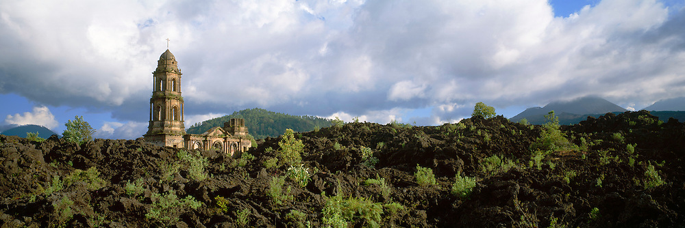MEXICO, MICHOACAN, LANDSCAPE Paricutin Volcano; church buried in lava