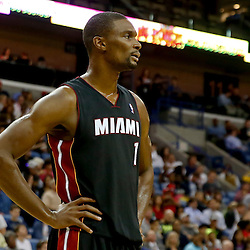 Oct 23, 2013; New Orleans, LA, USA; Miami Heat power forward Chris Bosh (1) against the New Orleans Pelicans during the first half of a preseason game at New Orleans Arena. Mandatory Credit: Derick E. Hingle-USA TODAY Sports