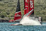 Emirates Team New Zealand testing on the Hauraki Gulf in their AC45 surrogate catamaran.